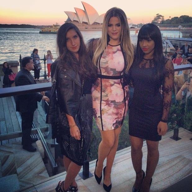 Khloe Kardashian lands in Australia to host Kardashian Kollection launch party - 18.11.2013 With Malika Haqq