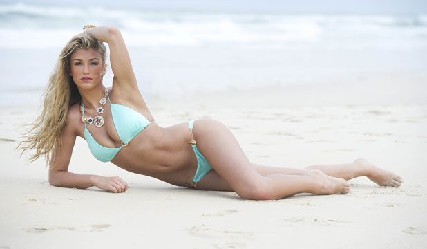 Amy Willerton on the beach ahead of leaving for the jungle 15 Nov 2013