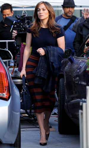 Jennifer Lopez visited on the set of The Boy Next Door by twins Emme and Max, 17 November 2013