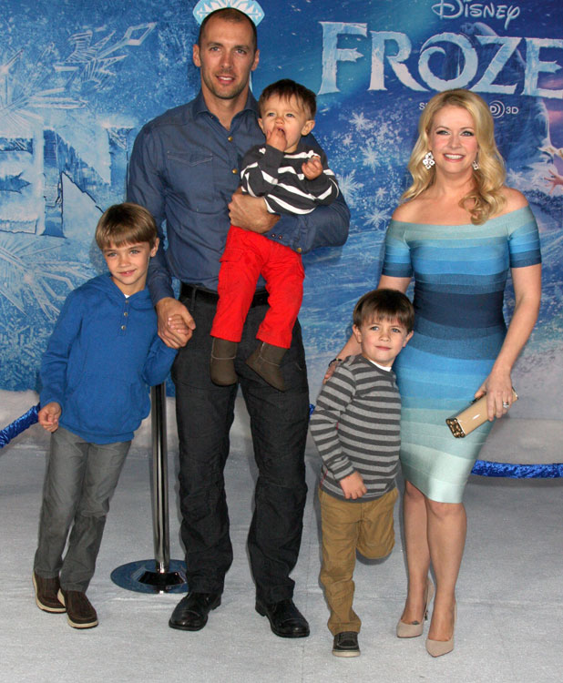 Melissa Joan Hart and her family at the Los Angeles premiere of Disney's Frozen, 19 November 2013