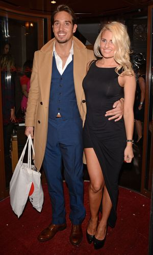 """TOWIE""""s James Lock and girlfriend Danielle Armstrong arriving at a party in London."""