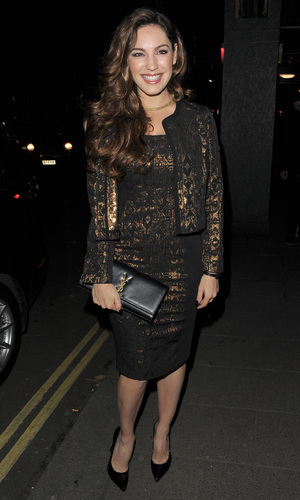 Kelly Brook dazzles in gold dress \u0026amp; jacket from New Look \u0026amp; YSL ...