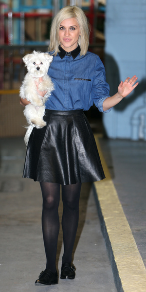 Ashley Roberts arrives at ITV studios with her pooch, November 26 2013