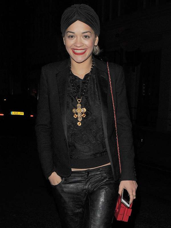 Rita Ora goes out for dinner wearing a black turban - London November 27 2013