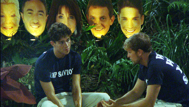 Camp saviours Kian Egan and Joey Essex discuss who to save during I'm A Celebrity, 29 November 2013
