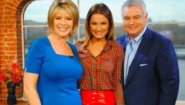 Sam Faiers poses with This Morning hosts at ITV studios after her appearance on the show, 29 November 2013