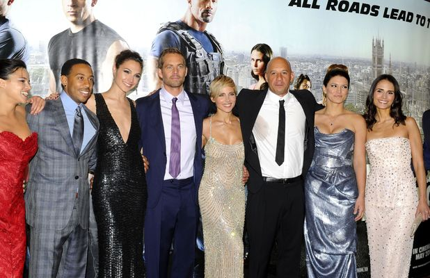 The cast of Fast & Furious 6 - Michelle Rodriguez, Ludacris, Gal Gadot, Paul Walker, Elsa Pataky, Vin Diesel, Gina Carano, Jordana Brewster - at the film's premiere in London - 07 May 2013