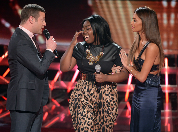 'The X Factor' TV show, London, Britain - 24 Nov 2013 Hannah Barrett is voted off, pictured with Dermot O'Leary and Nicole Scherzinger