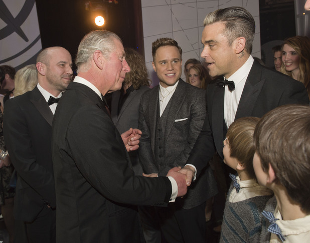 Robbie Williams and Olly Murs meet Prince Charles at the Royal Variety Performance 2013 - 25 November 2013