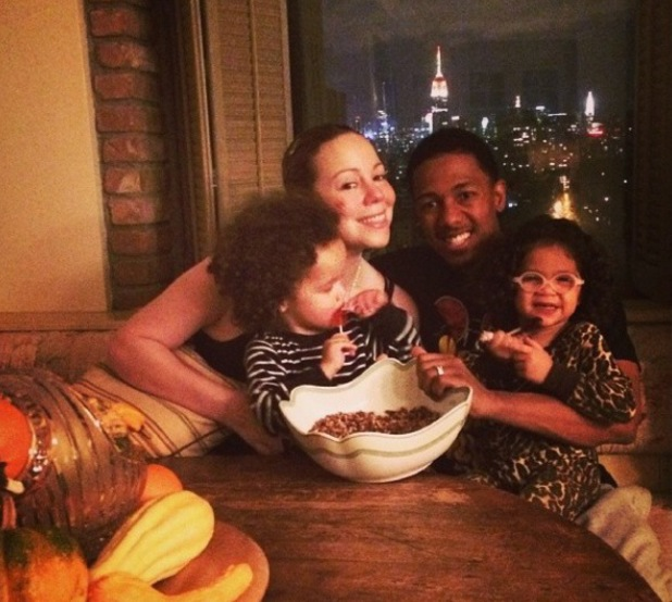 Mariah Carey and husband Nick Cannon for a Thanksgiving dinner.