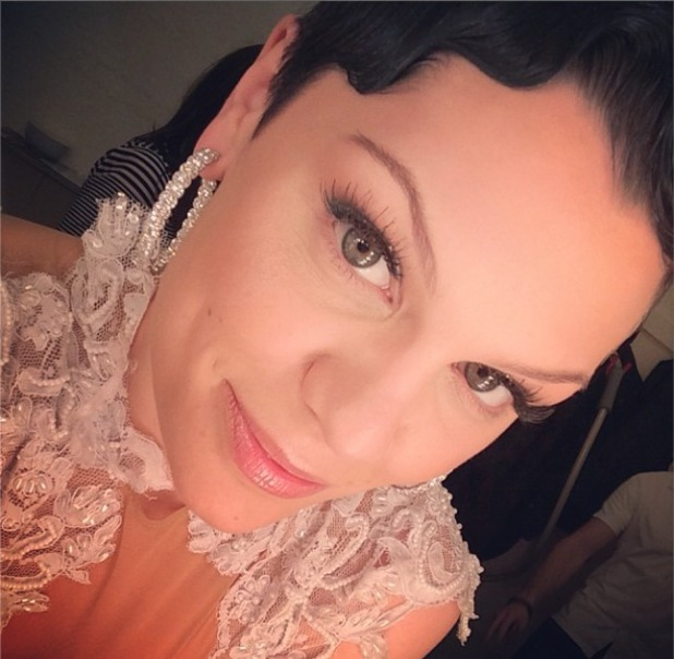 Jessie J shows a close-up of her natural, barely-there make-up for the Royal Variety Show, 25 November 2013