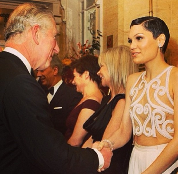 Jessie J shakes hands with Prince Charles after the Royal Variety Shows, 25 November 2013