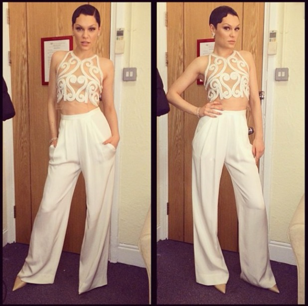 Jessie J shows off her top-to-toe outfit for meeting Prince Charles and the Duchess of Cornwall after Royal Variety Show, 25 November 2013