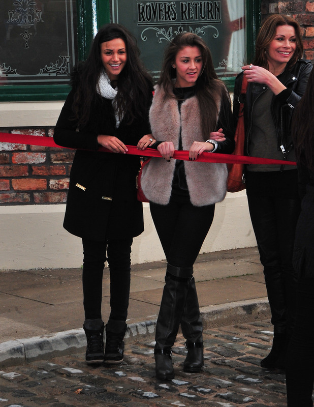 Michelle Keegan and Brooke Vincent at the grand opening of the new Coronation Street set, 29 November 2013