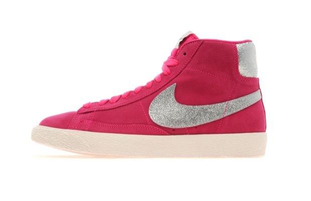 grey and pink nike blazers