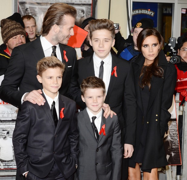 The World Premiere of 'The Class of 92' at Odeon West End - Arrivals - David and Victoria Beckham with sons. 1 December 2013
