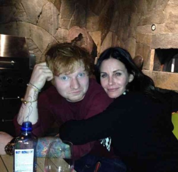 Ed Sheeran hangs out with actress Courteney Cox - November 2013