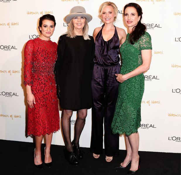 Lea Michele, Diane Keaton, Aimee Mullins, Andie MacDowell at The Pierre Hotel in New York for the L'Oreal Paris Women of Worth event - 3 December 2013