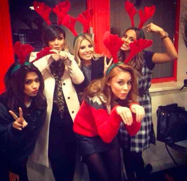 Frankie Sandford posts Instagram pic as she rejoins The Saturdays to record TOTP Christmas Special at Riverside Studios, 6 December 2013