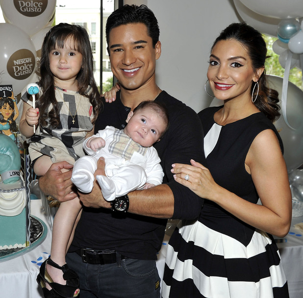 Mario Lopez and family at baby shower at Katsuya, Los Angeles, America - 16 Nov 2013 Pictured: Mario Lopez, Courtney Mazza with son Dominic, daughter Gia