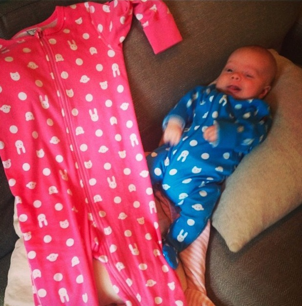 Cherry Healey shares a new picture of her baby son Edward 'Bear' at six weeks. 6 December 2013