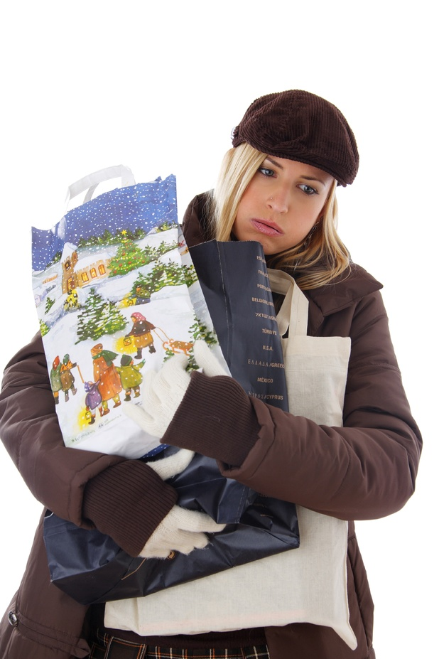 VARIOUS Model Released, Blonde Woman with Shopping Bags 2000s