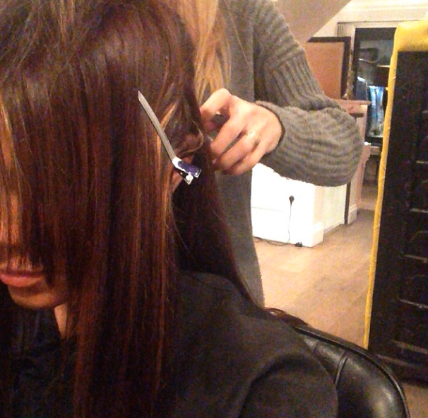 Maria Fowler gets her hair cut and coloured at the Adee Phelan salon, 3 December 2013