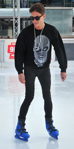 Joey Essex ice skates at Liverpool ONE's festive ice rink before heading to a meet and greet with his fans, 14 December 2013