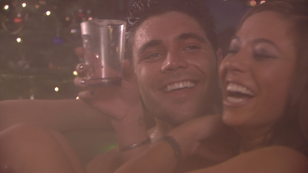 Tom Pearce and Pascal Craymer flirt in the hot tub in the festive special of The Only Way is Essexmas this week.