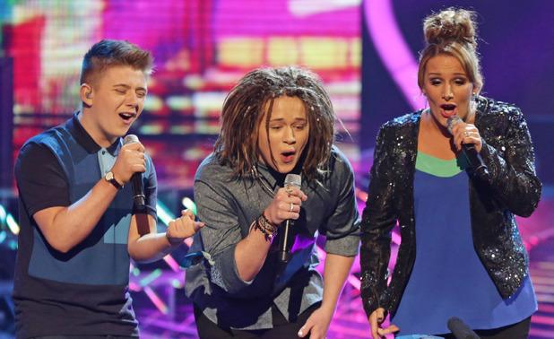 'The X Factor' TV show, London, Britain - 08 Dec 2013 Opening song - Luke Friend, Sam Bailey and Nicholas McDonald