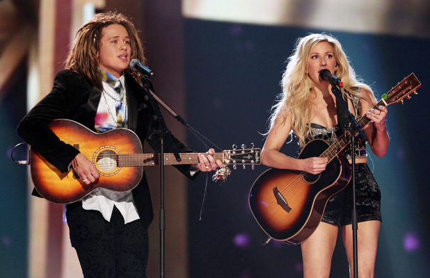 Ellie Goulding with Luke Friend during 'The X Factor' final TV show, Wembley Arena, London, Britain - 14 Dec 2013