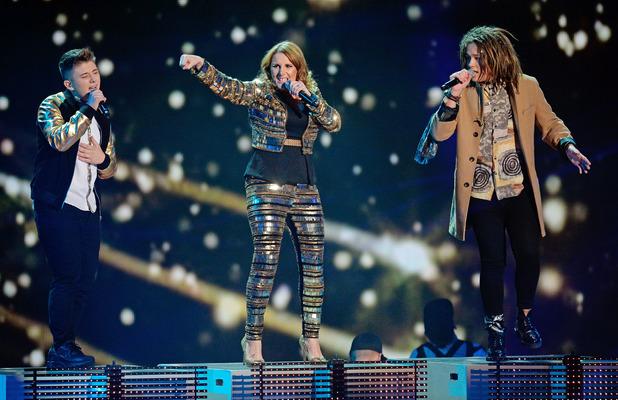 Sam Bailey, Luke Friend and Nicholas McDonald perform Naughty Boy's 'Lifted' on 'The X Factor' final TV show, Wembley Arena, London - 14 Dec 2013