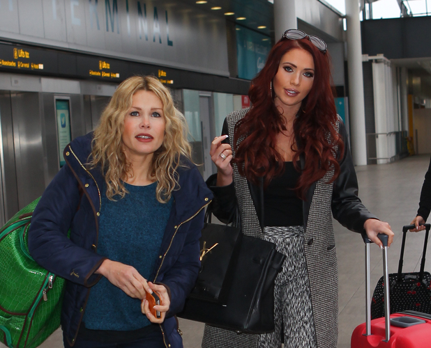 Contestants Amy Childs and Melinda Messenger leave Gatwick airport to start training in a ski resort for new reality show, Jump - 15 December 2013