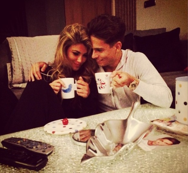 TOWIE's Joey Essex enjoys tea and biscuits with Amy Willerton. 12 December.