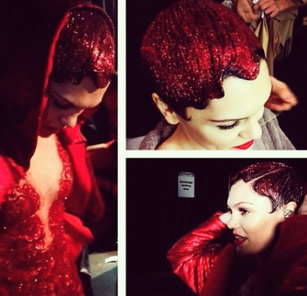 Jessie J shows off her red, glittery hair at the Jingle Bell Ball, 7 December 2013