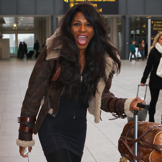 Contestant Sinitta leaves Gatwick airport to start training in a ski resort for new reality show, Jump - 15 December 2013