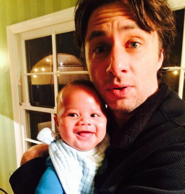 Zach Braff with godson Rocco - child of Scrubs star Donald Faison - 13.12.2013