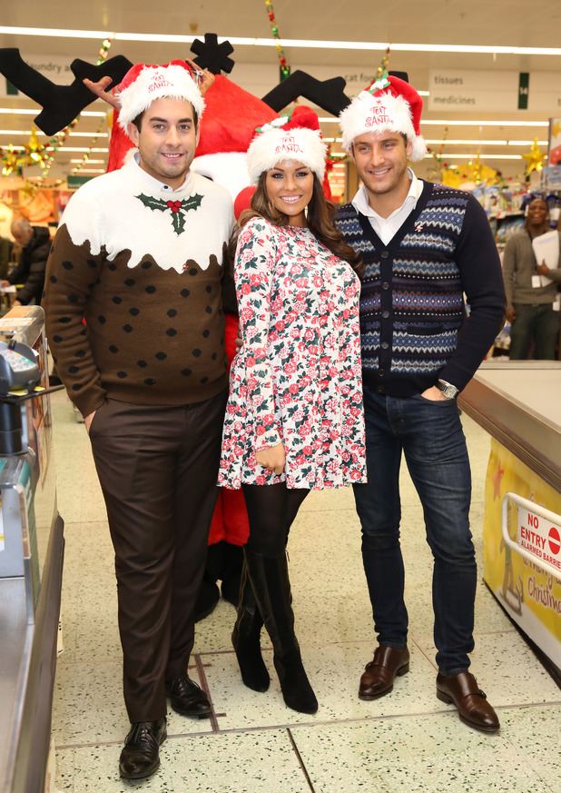 Celebrities surprise Morrisons shoppers by packing their bags to help raise money for ITV's 'Text Santa' charity appeal - Jess Wright, Elliott Wright, James 'Arg'Argent. 12.12.2013