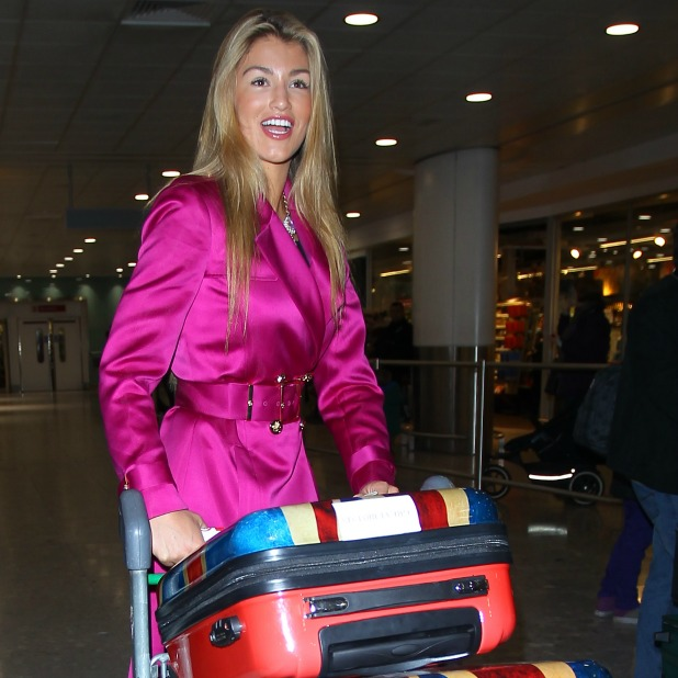 Amy Willerton arrives back in London after competing in the I'm A Celebrity show set in Australia, 11 December 2013