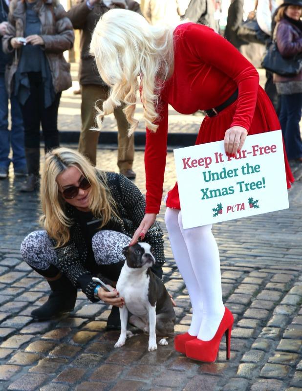 Helen Flanagan dresses as sexy santa for PETA Christmas campaign, 11 December 2013