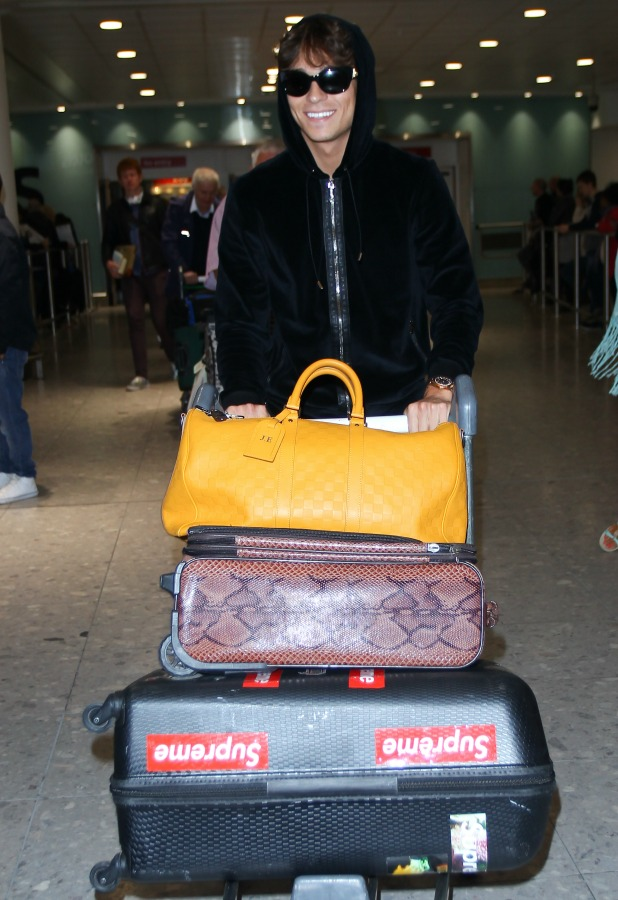 Joey Essex arrives back in London after competing in the I'm A Celebrity show set in Australia, 11 December 2013