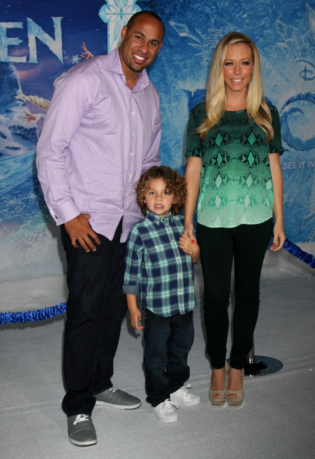 Kendra Wilkinson and Hank Baskett and their son, Frozen World Premiere at El Capitan Theater, attended by scores of celebrities and their families, 20 November 2013
