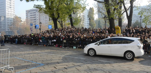 One Direction fans outside their hotel in Milan, Italy, 12 December 2013