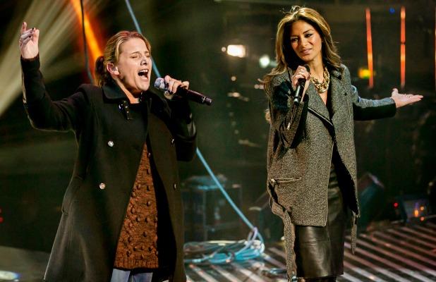 The X Factor Sam Bailey rehearsing on stage with Nicole Scherzinger, Wembley Arena, London, Britain - 13 Dec 2013