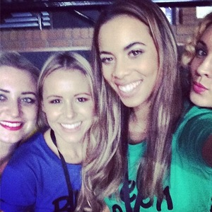 Chloe Tangney, Rochelle Humes, AJ Azari, Sarah Richards come to support JLS on their 'Goodbye' farewell tour. (16 December 2013).