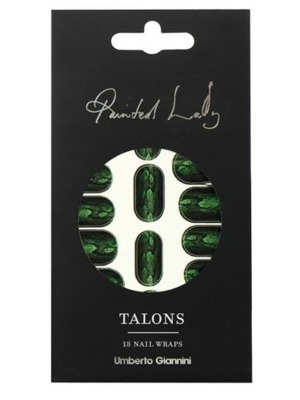 Umberto Giannini Painted Lady Talons, Green Python Nail Wraps