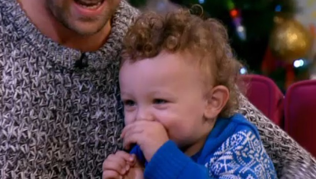 Kian Egan's son Koa joins him during This Morning interview, 17 December 2013