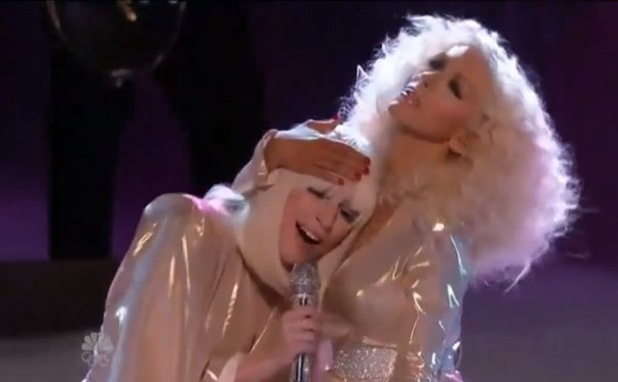 Lady Gaga performs 'Do What U Want' with Christina Aguilera on The Voice US.