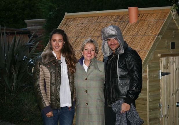 Penny Roberts from Henny Penny Hen Houses with Peter Andre and his pregnant girlfriend Emily MacDonagh - December 2013