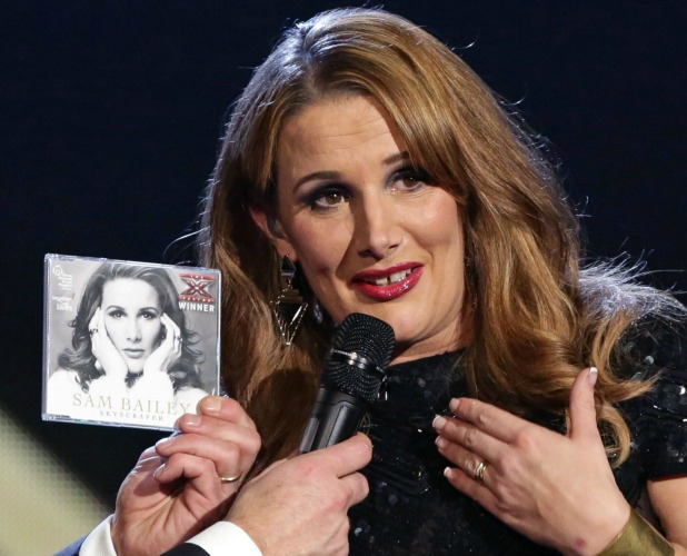 Sam Bailey with her winner's single on The X Factor final, 15 Dec 2013